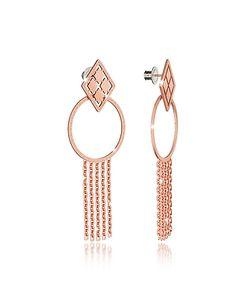 Rebecca | Melrose Rose Over Bronze Drop Hoop Earrings W/Chain Fringes