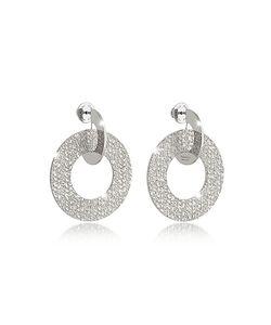 Rebecca | R-Zero Rhodium Over Bronze Drop Hoop Earrings