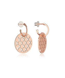 Rebecca | Melrose Rose Over Bronze Drop Hoop Earrings