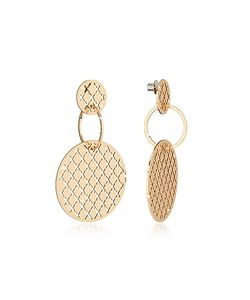 Rebecca | Melrose Over Bronze Stud Drop Earrings W/Round Charms