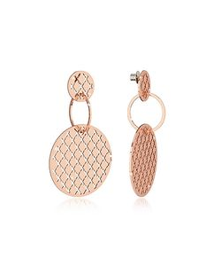 Rebecca | Melrose Rose Over Bronze Stud Drop Earrings W/Round Charms