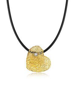 Orlando Orlandini | Woven Light Heart Pendant Necklace W/Diamond