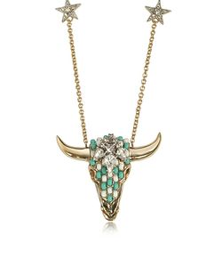 Roberto Cavalli | Tone Brass Long Necklace W/Crystals And Mint Beads