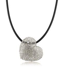 Orlando Orlandini | Ожерелье С Плетеным Кулоном Сердцем Из Белого Золота С Бриллиантом