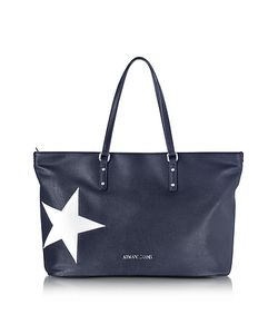ARMANI JEANS | Dark Navy Eco Leather Tote W/Star