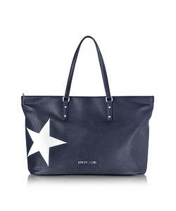 ARMANI JEANS | Dark Navy Eco Leather Tote W/Star