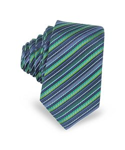 Laura Biagiotti | And Diagonal Stripe Woven Silk Extra-Narrow Tie