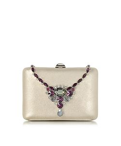 Rodo | Laminated Suede Collier Clutch W/Crystals