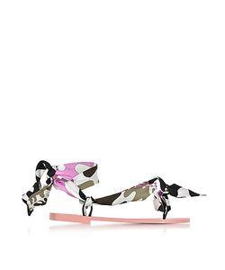 Emilio Pucci   Dark And Peonia Silk Flat Sandals