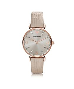 Emporio Armani | T-Bar Rose Tone Pvd Stainless Steel Womens Quartz Watch W/Leather Strap