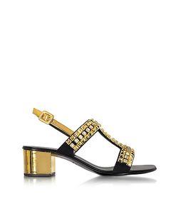 Giuseppe Zanotti Design   Laminated Leather Mid Heel Sandals W/Crystals
