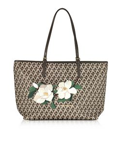 LANCASTER PARIS | Icon Coated Canvas Leather Tote Bag W/Magnolia Embroidery