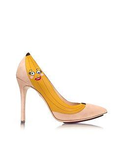 Charlotte Olympia | Chiquita Blush Suede Pump W/Banana Applique