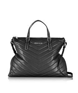 ARMANI JEANS | Quilted Eco Leather Zip Top Tote Bag