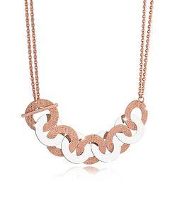 Rebecca | R-Zero Rose Over Bronze And Steel Maxi Chain Necklace