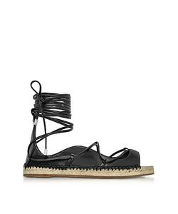Dsquared2 | Riri Nappa Leather Lace-Up Flat Espadrilles