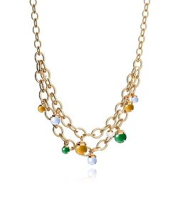 Rebecca | Hollywood Stone Over Bronze Chains Necklace W/Hidrothermal Stones