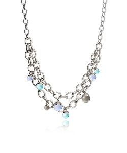 Rebecca | Hollywood Stone Rhodium Over Bronze Chains Necklace W/Hidrothermal Stones