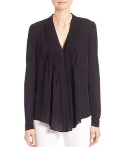 Elie Tahari | Willow Pleated-Front Silk Blouse