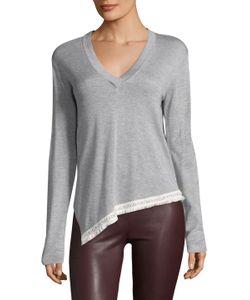 Derek Lam 10 Crosby   Asymmetrical V-Neck Sweater W Chain Fringe
