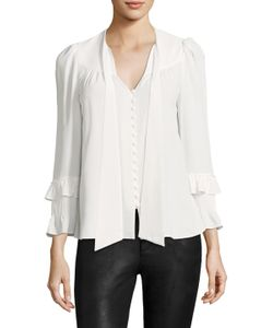 Derek Lam 10 Crosby   L/S Button Front Blouse W Ruffle Sleeves