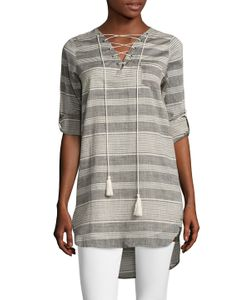 Lucca Couture | Stripe Lace Up Tunic