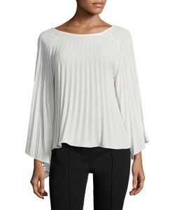 Nicole Miller | Solid Pleated Ls Top
