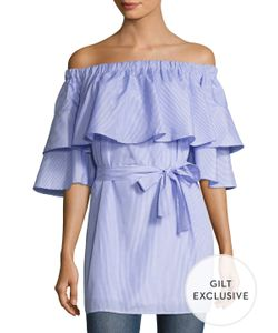 Lucca Couture | Poplin Ruffle Off Shoulder Shift Dress