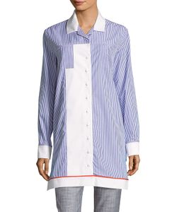 Carven | Striped Button-Front Shirtdress
