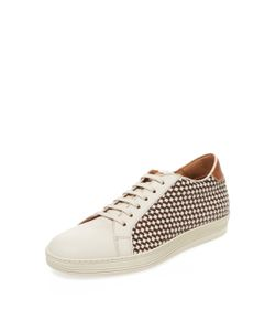 ANTONIO MAURIZI | Leather Woven Low Top Sneaker