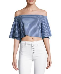 Torn By Ronny Kobo | Off Shoulder Striped Blouse