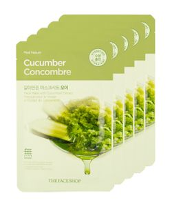 The Face Shop | Real Nature Cucumber Face Mask Skin Calming 5 Pk