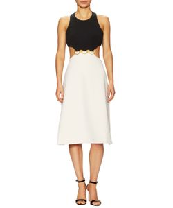 Halston Heritage   Colorblocked Cut Out Dress