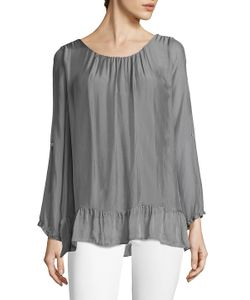 Le Marais | Ruffle Long-Sleeve Silk Top