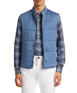 LUCIANO BARBERA | Houndstooth Quilted Zip Vest
