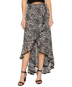 DRESS THE POPULATION | Audrey Print High Low Skirt