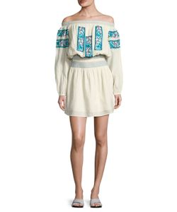 KAS   Patricia Embroidered Off Shoulder Flared Dress