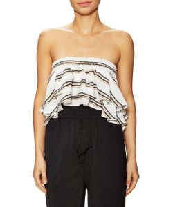 Lucca Couture | Striped Bandeau High Low Top