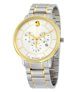 Movado | Thin Classic Chronograph Soleil Dial Two-Tone Stainless Steel Mens