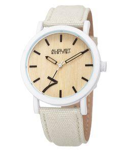 August Steiner | Wooden Dial Canvas Leather Watch 42mm