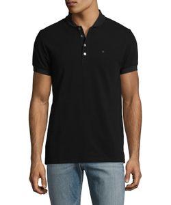 DAVID NAMAN | Short Sleeve Knit Polo Shirt