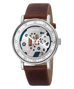 August Steiner | Leather Skeleton Dial Watch 40mm