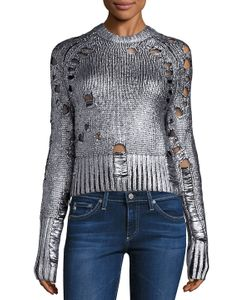 ZOE JORDAN | Euler Foil Distressed Wool Amp Cashmere Sweater