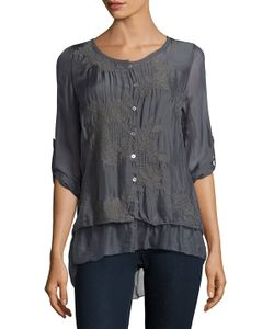 Le Marais | Embroidered Silk Top