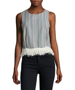 Lucca Couture | Linen Fringe Trimmed Top