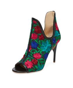 JEROME ROUSSEAU | Jujo Embroidered Peep-Toe Bootie