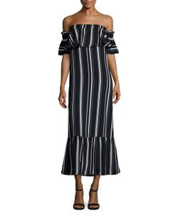 Lucca Couture | Directional Striped Ruffle Midi Dress