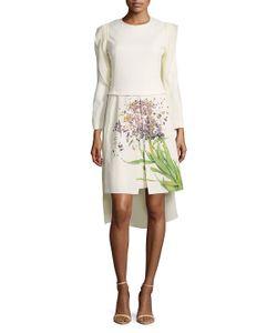 Akris   Printed Dress With Detachable Train