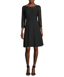 Karl Lagerfeld   Lace Top Fit Flare Dress