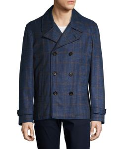 Isaia | Wool Windowpane Double Breasted Peacoat